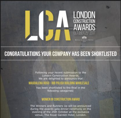IBB in the London Construction Awards 2017 Final